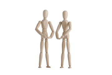 Two wooden mannequin with holding pose