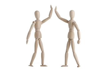 Two wooden mannequin with high-five pose