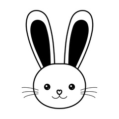 easter bunny face whiskers animal line vector illustration eps 10