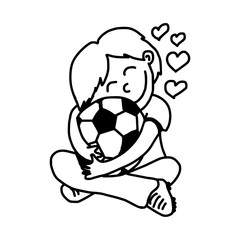 boy hugging soccer ball with love - illustration vector doodle hand drawn, isolated on white background