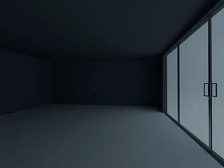 empty dark room with the big windows, 3d