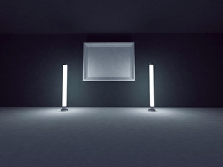 empty picture on the wall, two lamp near it, 3d