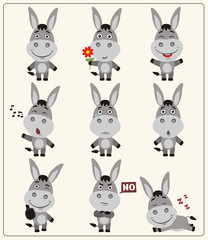 Funny little donkey set in different poses. Collection isolated donkey in cartoon style.