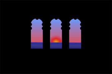 Three windows in the world. Sunrise on sea