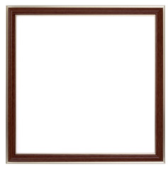 Vintage wood frame isolated on white background. Photo frame on white wall