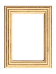 Vintage wood frame isolated on white background. Photo frame on white wall