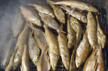 Plenty of fish is smoked over charcoal and sawdust