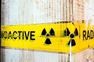 Radioactive material warning sign at the package
