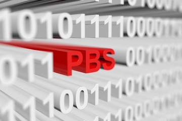 pbs as a binary code with blurred background 3D illustration