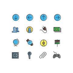 Set of General Related Vector Line Icons. Contains such Icons as Arrow,avatar,User,Clock,Globe,Money,Clip,Key,Money safe,CD. Fully Editable. Neatly Done.