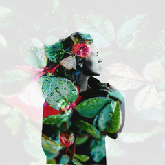 Double exposure portrait of attractive woman combined with photograph of flowers