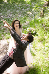 wedding fun: groom on bungee