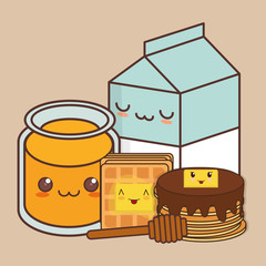 breakfast kawaii food icon image vector illustration design