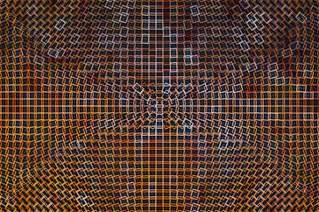 Orange moon background polygonal flowing