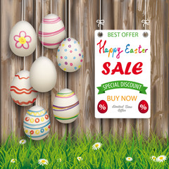 Hanging Easter Eggs Worn Wood White Board Sale