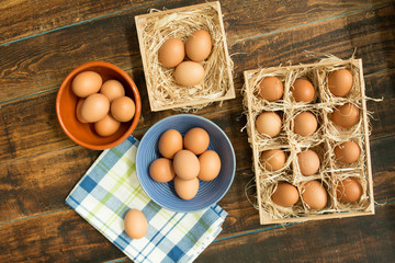 Raw eggs on a blue napkin