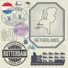 Grunge rubber travel stamp or label set Netherlands theme