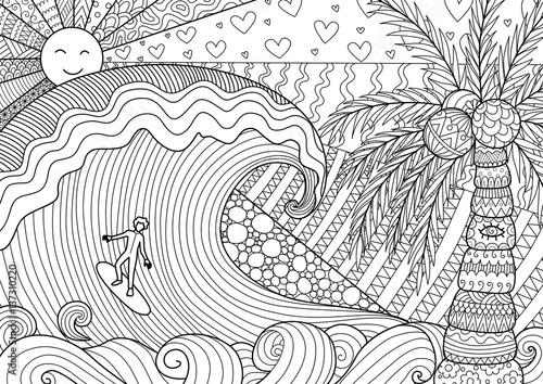 Man Surfing On Big Wave In Beautiful Day For Adult Coloring Book Page