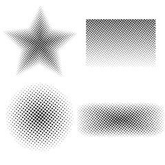 Set of halftone retro textures, gradient monochrome shapes isolated on white background. Vector illustration.