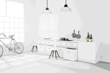 3D rendering : illustration of White interior modern kitchen room design with two vintage lamp hanging.sun light shining from outside of the room.design your home, comic halftone picture style