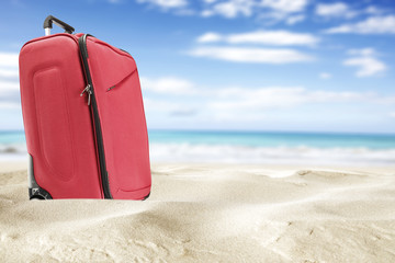 suitcase and sea