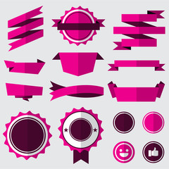 set of pink badges , labels and ribbons. flat design concept. branding and sale decoration. vector illustration.