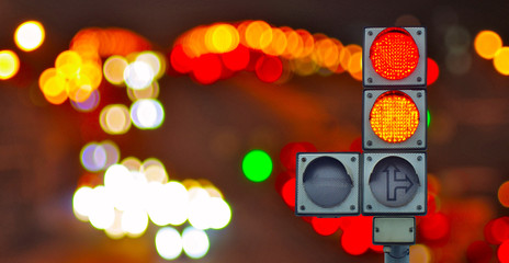 Fotomurales -  traffic light on lights background