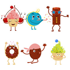 Funny cupcakes in the style of the cartoon. Cute cakes and donuts at the party. Flat style. Design for parties and birthday. Vector illustration