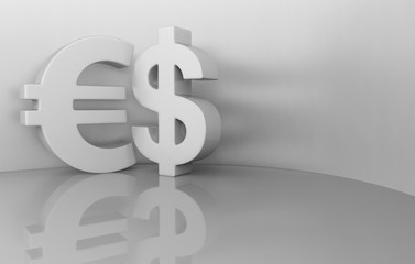 3d rendering dollar and euro signs on a gray background