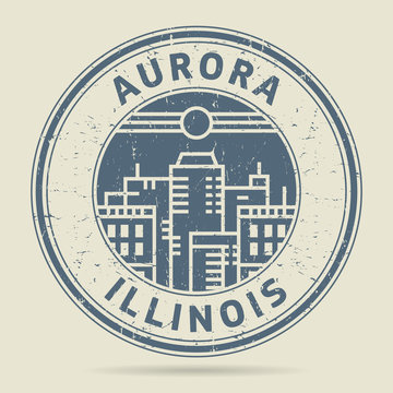 Grunge rubber stamp or label with text Aurora, Illinois