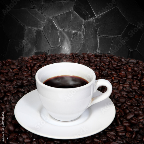 Quot Black Coffee And Coffee Beans With Smoke On Granite Wall