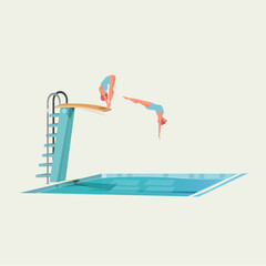 sport women standing on diving board, preparing to jump and dive - vector illustration