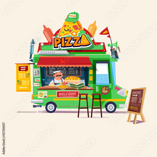 Pizza food truck  Street food car with chef  character design