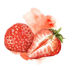 Hand painted watercolor illustration of strawberry cut in half with artictic stain in background