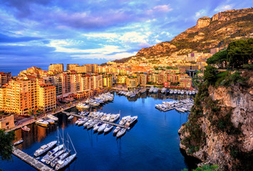 Port Fontvieille harbour in Old Town of Monaco