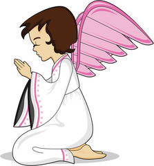 Cute Cartoon Praying Angel