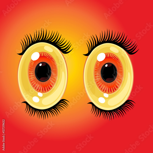 Big Oval Cartoon Eyes Wide Open Anime Style Eyes With Long