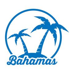 Icono plano Bahamas en isla azul en fondo blanco