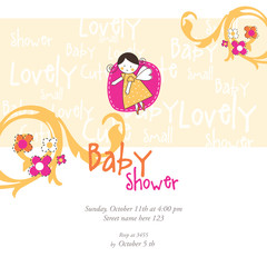 Baby Shower Invitation template. Card invitation template. Graphic design element. Floral background with copy space.