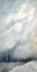Abstract background. Watercolor winter landscape
