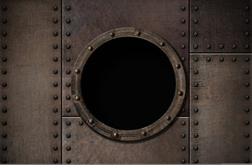 Wall Mural - submarine porthole steam punk metal background