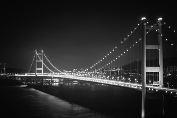 Tsing ma Bridge light-up in Hong Kong. black and white filter