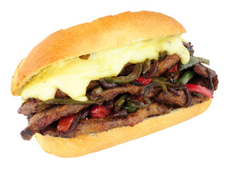 Cheese Steak Sandwich Roll With Red And Green Peppers
