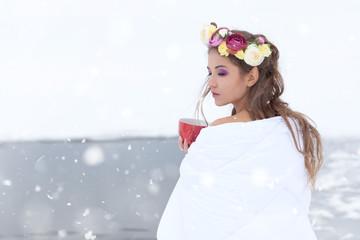 Spring woman - beautiful girl in spring makeup