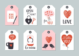 Set of Valentine day tag template with lettering