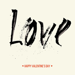 """Freehand letters """"love"""", Valentine's Day card, vector illustration"""