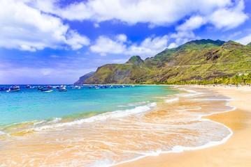 Beach on Machico bay, Madeira Island, Portugal