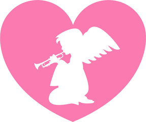 Praying Heart Angel with Trumpet