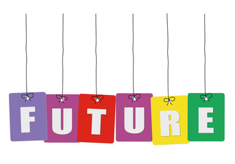 Cardboard hanging - vector colorful. Tags - future.