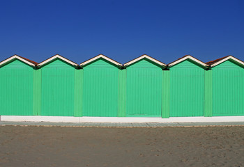 Beach hut in Forte dei Marmi during winter